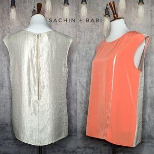 Sachin + Babi Preston metallic top in Cantaloupe